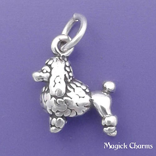 925 Sterling Silver 3-D Poodle Dog Charm Miniature Jewelry Making Supply, Pendant, Charms, Bracelet, DIY Crafting by Wholesale Charms