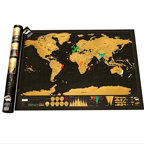 Scratch Map Design Black Deluxe Maps Traveler Scratch Off World Best Gift for Education School Office Christmas Halloween - by world map scratch off - 1 PCs for $<!--$20.99-->
