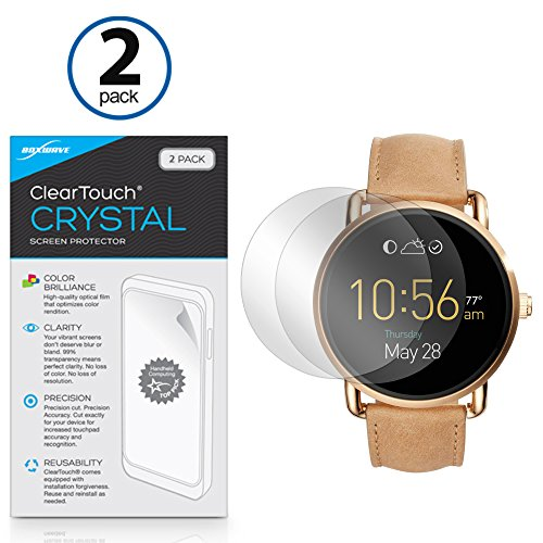 fossil-q-wander-screen-protector-boxwave-cleartouch-crystal-2-pack-hd-film-skin-shields-from-scratch