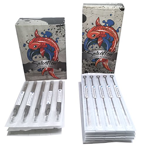 Tattoo Needles and Tubes Combo - 100 Pcs Each - Assorted Needle Box and Disposable Tips - Mixed Liners and Shaders Sizes Bundle By Salvation (7rl Tubes With Tattoo Needles)