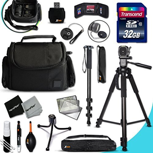 Ultimate SONY Digital Camera ACCESSORIES Kit for SONY Cyber-Shot DSC-RX100 IV, RX10 II, HX90V, XW500, QX30, RX100 III, H400, H300, HX400V, QX10, QX100, RX1R, RX10, RX100 II, XH50V, XH300, NEX5T, NEW3N, H200, RX1, NEX6, NEX5R, RX100, H90, HX200V, HX30V, HX20V, HX10V, NEX5N, NEXC3, NEX7, NEX7V, HX100V, NEX5, NEX3, HX1, H50 DIGITAL Cameras Includes: 32GB High Speed SD Memory Card + Pro Grade 72' inch Tripod + Full size 72' Inch Monopod + Well Padded Camera Case + Memory Card Wallet Case Holder + 58mm Center Pinch Lens Cap + Lens Cap Holder + 2 Screen Protectors + Universal Memory Card Reader + Cleaning Dust Blower + Cleaning Pen + Mini Flexible Table Tripod + Deluxe Cleaning Kit - Sony Sd Card Holder