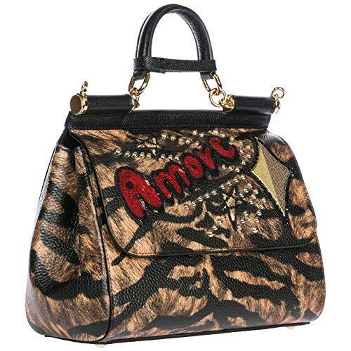 Dolce amp; femme en main cuir marron sac sicily Gabbana à HHq1dprw