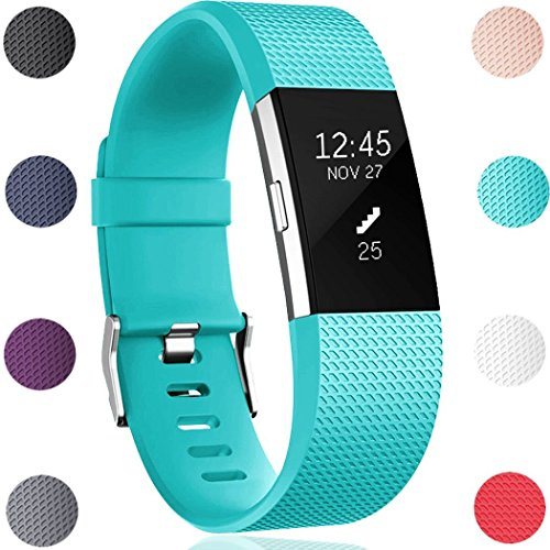 Teal Band - GEAK Bands Replacement for Fitbit Charge 2, Adjustable Sports Wrist Bands for Fitbit Charge 2, Small Classic Teal