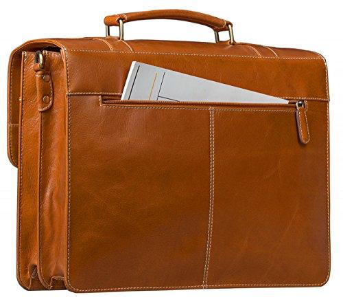 STILORD Borsa classica Affari Ambientazione Borsa insegnante laptop bag 15.6 borsa da ufficio in pelle cognac marrone grande in pelle bovina
