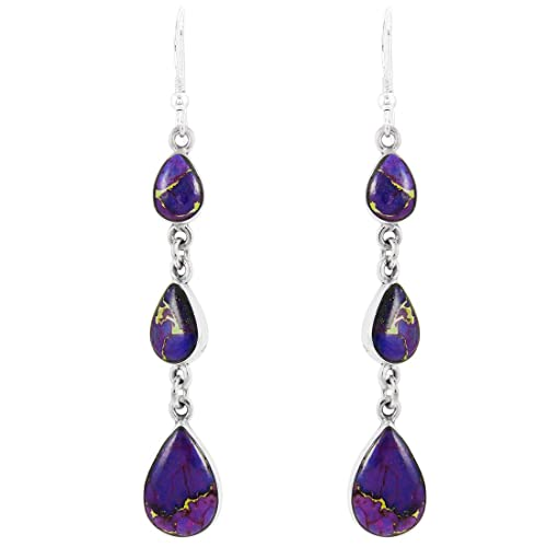 Purple Turquoise Earrings Sterling Silver 925 Select Style Chandeliers
