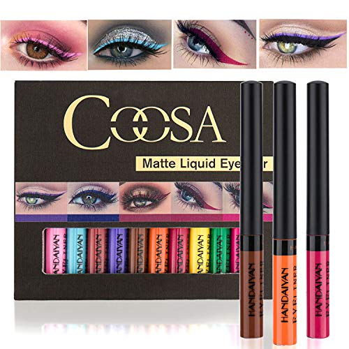 Bright Liquid Blue - Coosa Matte Colorful Liquid Eyeliner [12Colors] Long Lasting Waterproof Eyeliner Professional Bright-colored Eyeliner Pen Set - 12 PCS