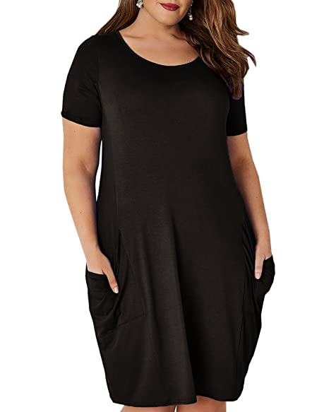 Sibylla Women\'s Plus Size Short Sleeve Bubble Hem Cocoon Midi Dress ...