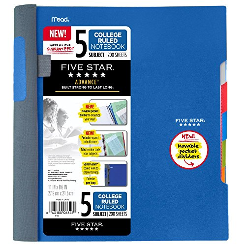Five Star Advance Spiral Notebook-Standard Size, 5 Subject, College Ruled, 8.5 x 11 Inch Sheet Size, Blue (73150)