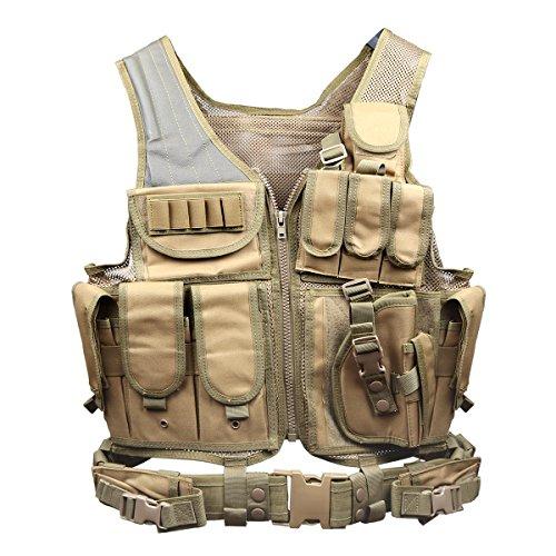 Goetland 600D Polyester Tactical Vest Outdoor Ultra-Light Combat Training Vest CS Adjustable S-XXL, Mud ()
