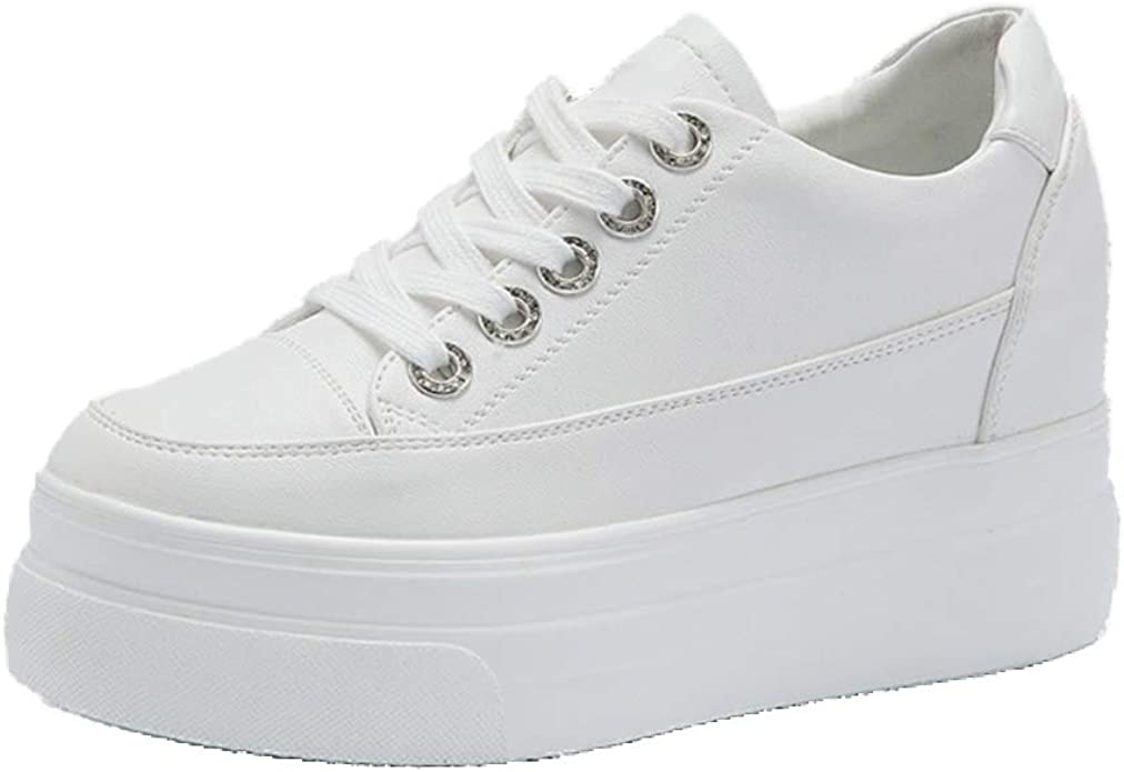 JRenok Femmes Casual Plateforme Vulcanis/éE Chaussures Plate-Forme Automne Toile /à Lacets Baskets Loisir Solides Profondes