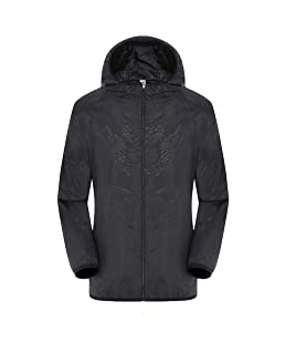 Mens Women Casual Windproof Jacket Ultra Light Rainproof Windbreaker Outdoor Coat Black