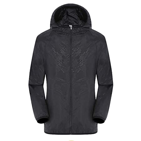 kitt Mens Women Casual Hooded Jackets UPF 50+ Sun Protection Windproof Ultra-Light Rainproof Water Resistant Lightweight Windbreaker Top Outdoor