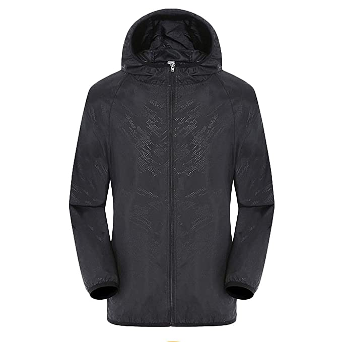 MENS BREATHABLE WATERPROOF WINDPROOF JACKET gents black kagool and bag All sizes