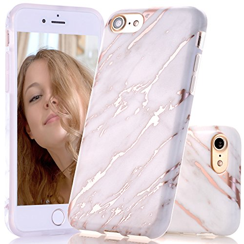 BAISRKE Shiny Rose Gold Beige Marble Design Clear Bumper Matte TPU Soft Rubber Silicone Cover Phone Case Compatible with iPhone 7 (2016) / iPhone 8 (2017) [4.7 inch]