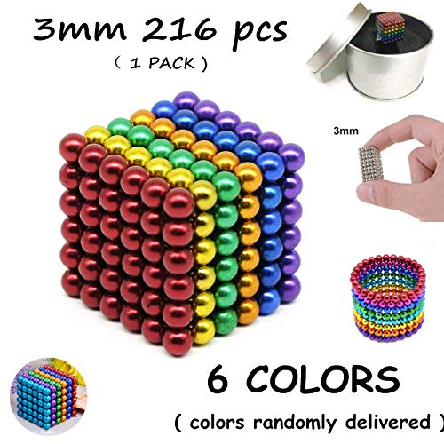 - CREATESTAR Magnetic Balls 3MM 216 PCS Magnetic Cube Magnetic Sculpture Building Blocks Buckyballs Washable Sturdy Buildable Magnets Office Toy Stress Relief for Adults ( 6 Colors )