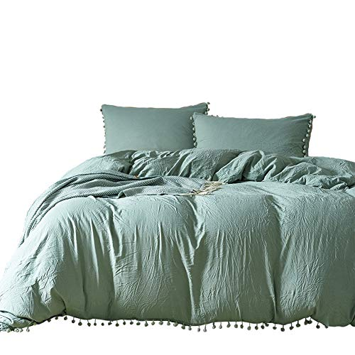 (Lurson Pom Pom Fringed Duvet Covers Queen Size Sage Green Duvet Cover Polyester Cotton Bedding Sets)