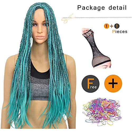 28 Celebrity Halloween Costumes (SiYi Women's Anime Cosplay Wig Blue Long Braided Synthetic Wig Halloween Costume Braids)