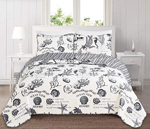 Great Bay Home 3 Piece Quilt Set with Shams. Soft All-Season Microfiber Bedspread Featuring Attractive Seascape Images. Machine Washable. The Catalina Collection Brand. (King, Grey)