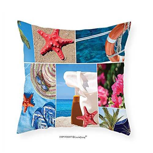 VROSELV Custom Cotton Linen Pillowcase Beach Collage of Summer Vacation Photos Starfish Palm Tree Hat Sunglass Flowers Flip Flops for Bedroom Living Room Dorm Multicolor - Nick Sunglasses Jonas