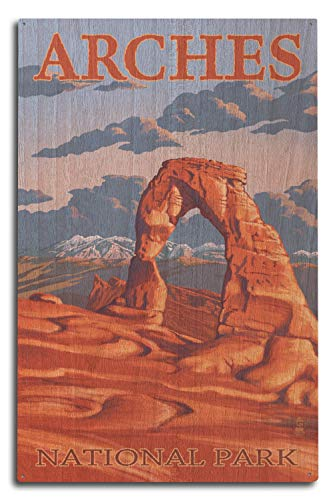 Lantern Press Arches National Park, Utah - Delicate Arch Illustration (10x15 Wood Wall Sign, Wall Decor Ready to Hang)