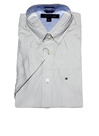 0b7200e2 Tommy Hilfiger Mens Classic Fit Short Sleeve Woven Shirt (Grey Violet, M)  at Amazon Men's Clothing store: