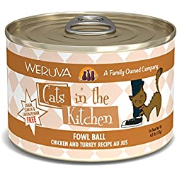Weruva Cats in the Kitchen, Fowl Ball with Chicken & Turkey Au Jus Cat Food, 6oz Can (Pack of 24)