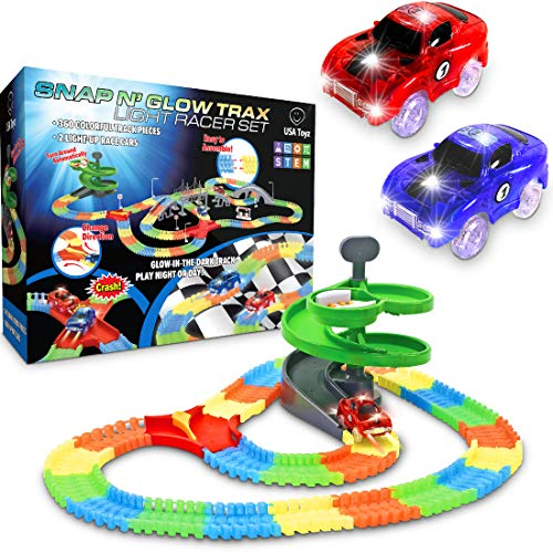 Glow Race Tracks for Boys - 360pk Flexible Glow in The Dark Magic Snap Race Tracks for Kids w/ Light Up Car Toys, Car Racing Track and Ramp Set ()