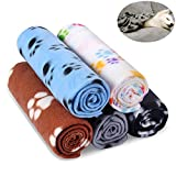 Comsmart Warm Paw Print Blanket/Bed Cover for Dogs and Cats, 5 Pack of 24x28 Inches