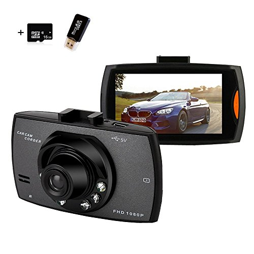 Dash Cam, Samjat FHD 1080P 140 Wide Angle Dash Camera for Cars DVR Vehicle Dashboard Camera Recorder with 16GB SD Card 2.7″ TFT Display G-Sensor Night Vision Loop Recording,Vehicle On-dash Video