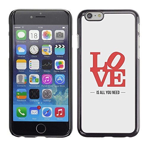 GIFT CHOICE / Slim Hard Protective Case SmartPhone Shell Cell Phone Cover for Apple Iphone 6 Plus 5.5 // love is all you need lyrics red grey //