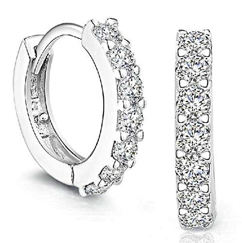 fart Sterling Silver Rhinestones Hoop Diamond Stud Earrings for Women (silver) ()