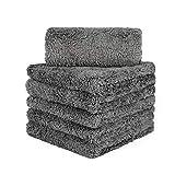 CARCAREZ Edgeless Microfiber Towels, Professional 70/30 Blend 450 GSM Dual-Pile Super Plush Microfiber Auto Detailing Towel, 16x16 inch, Pack of 6 (Gray)