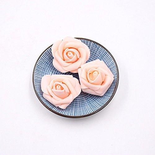 50pcs Foam Rose Flower Head Artificial Flowers Bouquet (Yellow) - 8