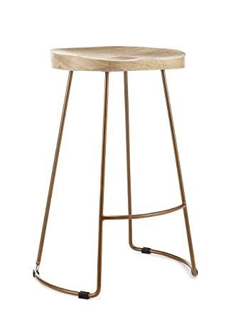 Fabulous Vintage Designer Kitchen Pub Bar Stool 70Cm High White Black Copper Copper Frame Alphanode Cool Chair Designs And Ideas Alphanodeonline
