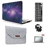 MacBook Air 13'' A1369/A1466 Case & Sleeve [5 in 1 Bundle], Keyrun Plastic Hardshell Case Bundle with Felt Sleeve, Screen Protector, Keyboard Cover & Dust Plug - Galaxy 01