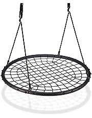 Relaxdays Nestschommel met net, Ø120 cm, tuinschommel voor kinderen en volwassenen, tot 150 kg, verstelbaar, zwart