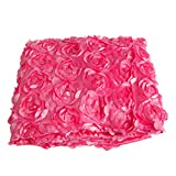 NNDA CO Anti-slip 3D Rose Flower Wedding Stage Floor Long Carpet Aisle Runner Mats Rugs,1Pc (hot pink)