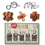 Alinshi 3D Wood Classic Brain Teaser Jigsaw Lock Puzzle Educational Toy Gift for Kids and Adults, 5-piece Set
