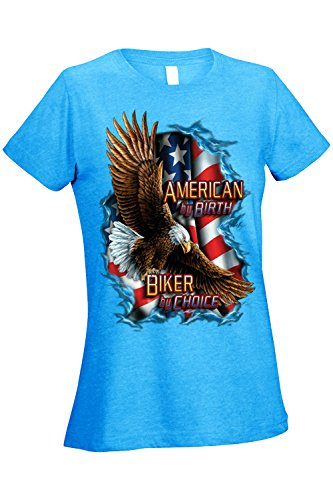 SHORE TRENDZ Women's Ladies T Shirt American by Birth Biker by Choice Graphic Tee: Heather Turquoise (Small)