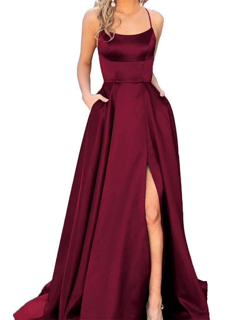 JASY Women's Spaghetti Satin Long Black Side Slit Prom Dresses with Pockets by JASY (Image #1)