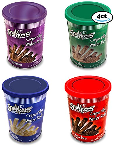 Price comparison product image Snakkers Cookies Wafer Roll Snacks Cream Filled Care Package Variety Pack 14.01 Oz Each (4 Count)