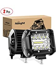 Nilight 18021F-B 2PC 4Inch Triple Row Lights 60W Flood Spot Combo 6000LM Bar Driving Boat Led Off Road Trucks, 2 Years Warranty