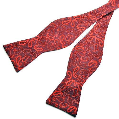 PenSee 100%  soie-Auto-noeud Papillon noir Rouge & Motif nœuds