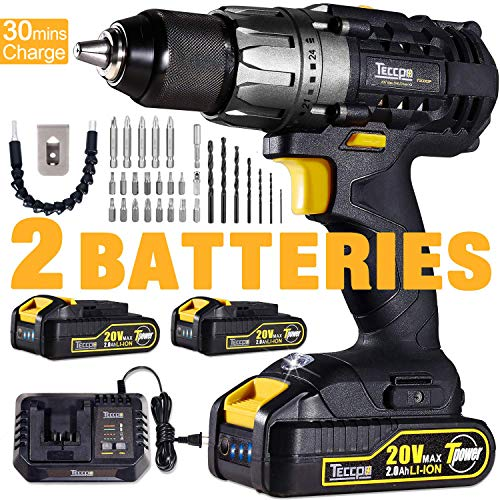 "Cordless Drill, 20V Drill Driver 2x2000mAh Batteries, 30Min Fast Charger 4.0A, 530 In-lbs Torque, 24+1 Torque Setting, 2-Variable Speed, 29pcs Accessories, 1/2"" Metal Keyless Chuck"