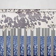 Glenna Jean Baby Crib Convertible Short Rail Guard Protector & White Cow Animal Print Jungle for Baby Boys