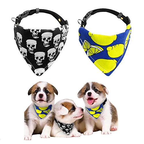 Stock Show 1Pc Pet Dog Bandana Collar Puppy Cat Adjustable Soft Suede Bib Scarf Neckerchief Pet Tie Accessories for Small Medium Dogs Puppy Kitten Rabbits, Skull in Black, S ()