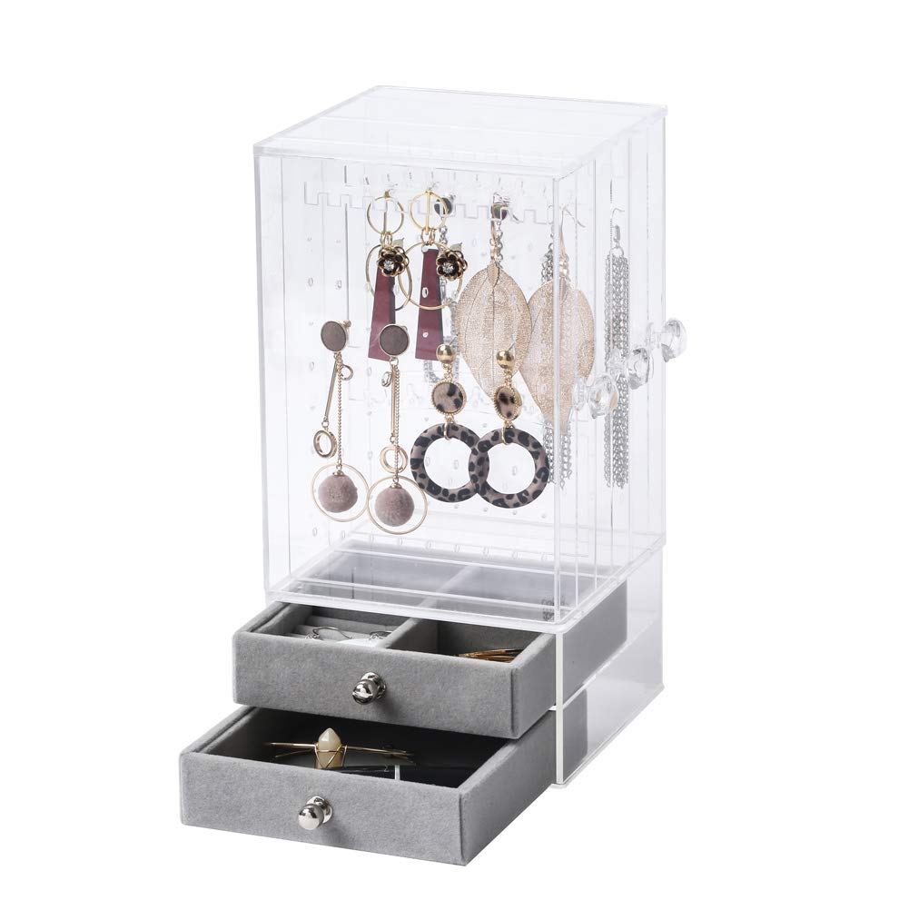 BiuTee Jewelry Box for Women Jewelry Organizer Necklace Earrings & Bracelet Hanger Acrylic Display Storage Case Decor Gifts for Girls, Large by Biutee