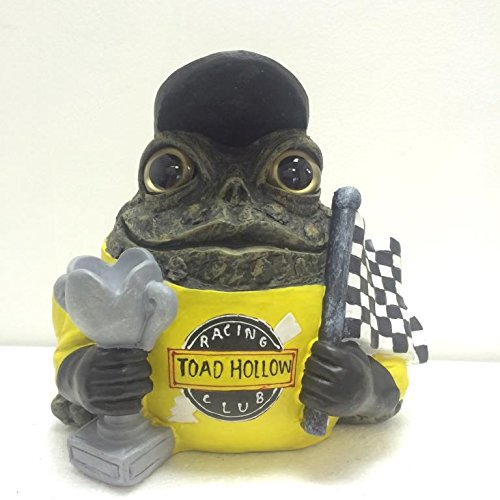 Homestyles Toad Hollow #93983 Figurine Stock Auto Race Car Driver with Trophy and International Racing Speedway Checker Flag Sports Character Garden Statue Large 8.5