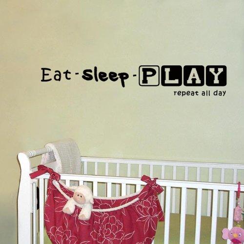 Eat Sleep Play Pop Decors WL-0171-Va Inspirational Quote Wall Decal