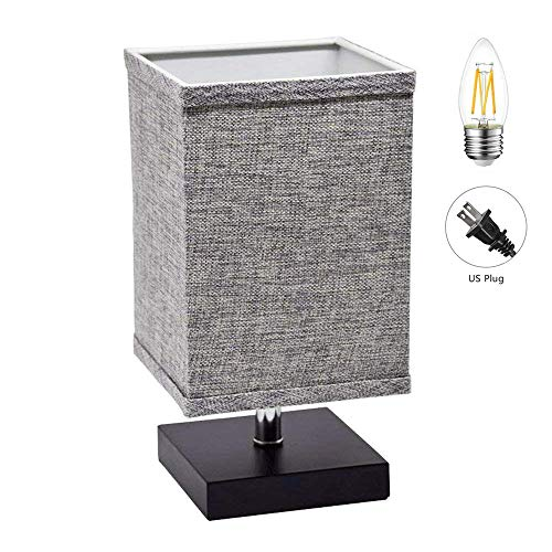 LED Fabric Bedside Table Lamp, Square Minimalist Solid Wood Table Lamp, Bedside Desk Lamp Nightstand Lamp with Flaxen Fabric Shade for Bedroom, Living Room, Kids Room, College Dorm, Coffee Table(Grey)